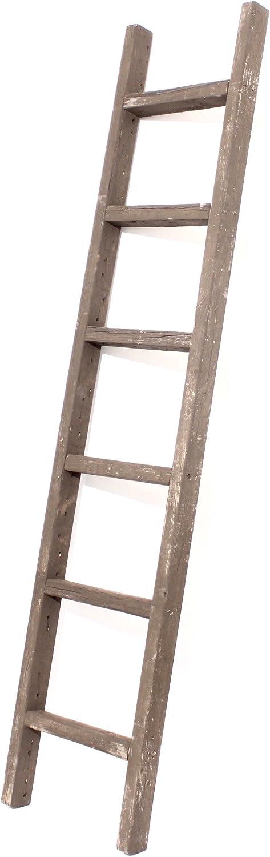 """BarnwoodUSA Rustic Decorative Ladder - 100% Upcylced Wood (72"""" x 12"""" x 2.5"""", Espresso)"""