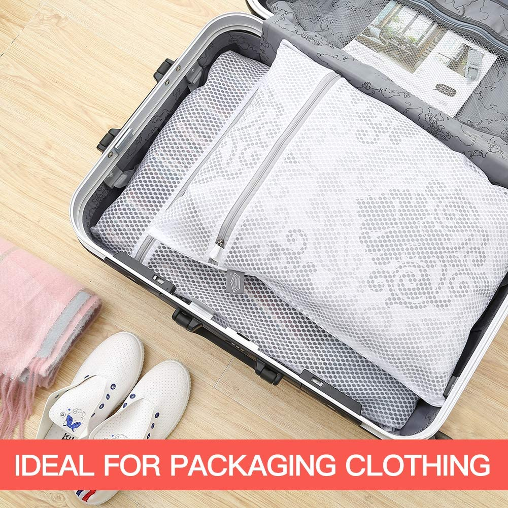 2 Extra Large + 2 Large Pack of 4 125gsm Net Fabric Durable and Reusable Delicate Wash Bag,Travel Organization Bag for Lingerie,Clothes,Jeans,Bath Towel,Sock Extra Large Honeycomb Mesh Laundry Bag