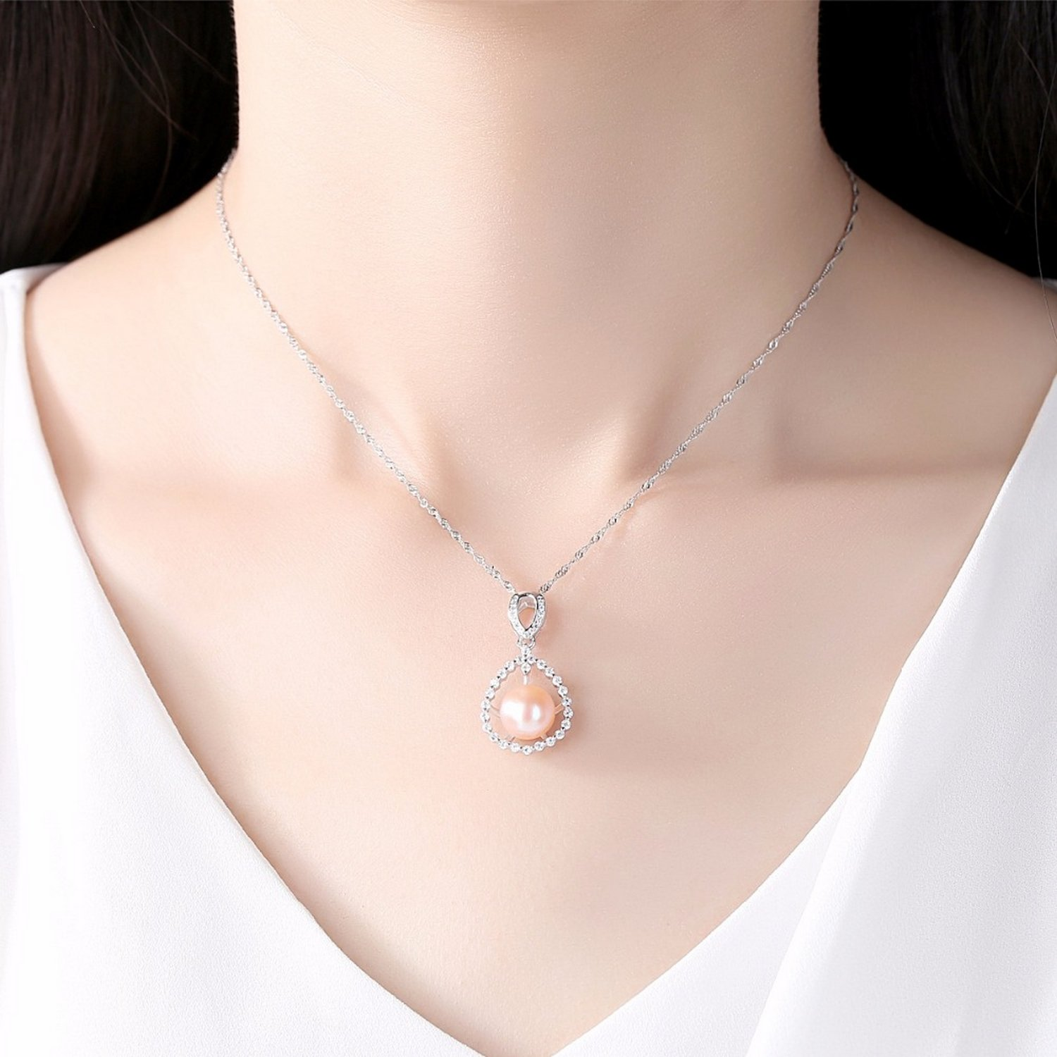 CS-DB Pendants Wave Drop Water Shape Beads Pearl Silver Necklaces