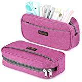 Homecube Big Capacity Pencil Pen Case Bag Pouch Holder Multi-Pocket Stationery Bag with Zipper for School & Office Supplies Middle High College Girl Adult - Rose Red (Color: Red)