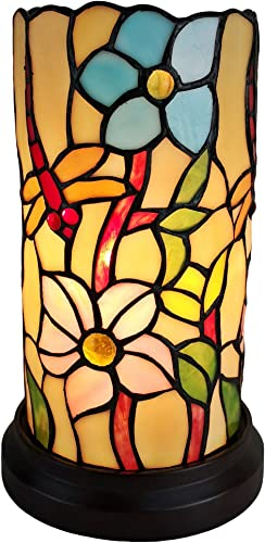Amora Lighting Tiffany Style Accent Lamp 10 Tall Stained Glass White Yellow Dragonfly Floral Vintage Antique Light Decor Living Room Bedroom Gift AM091ACCB, Multicolored