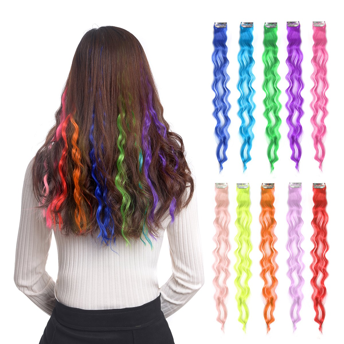 Amazon 10pcs Colored Clip In Hair Extensions 22 Straight