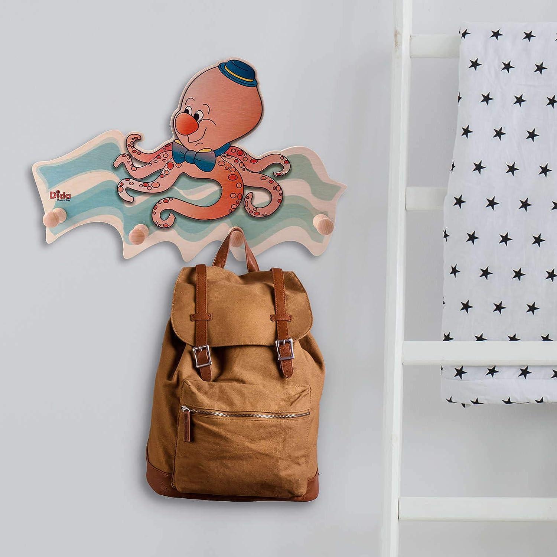 Porte-Manteaux Enfant Poulpe Porte Manteau Mural en Bois pour Chambres denfant et b/éb/é avec des Animaux Marins Dida