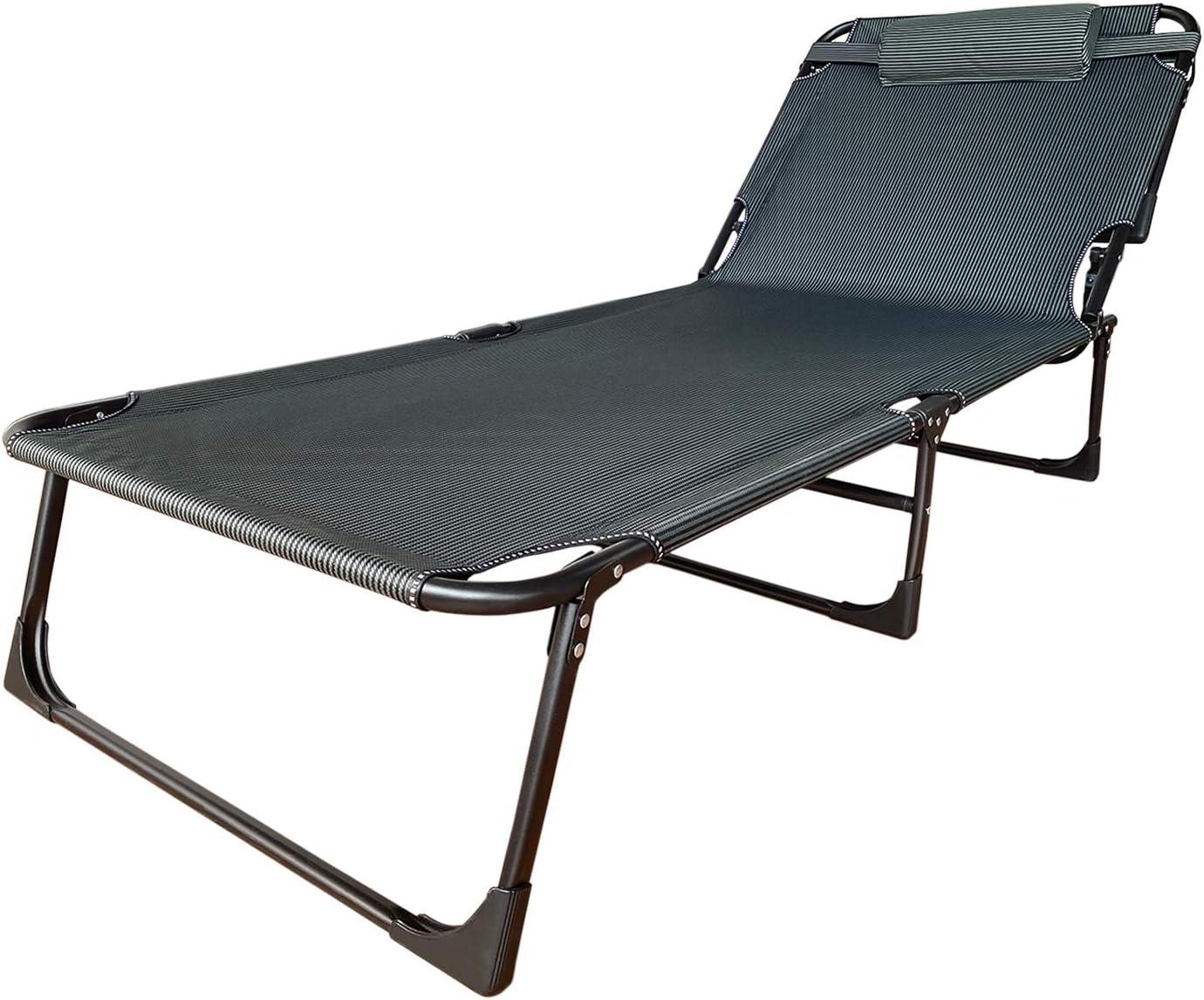 Soontrans Tumbonas Jardin Exterior Playa Silla Plegable Visera de 3 pies de Aluminio y Textileno con Reposacabezas Extraíble para Jardin Camping(Azul)