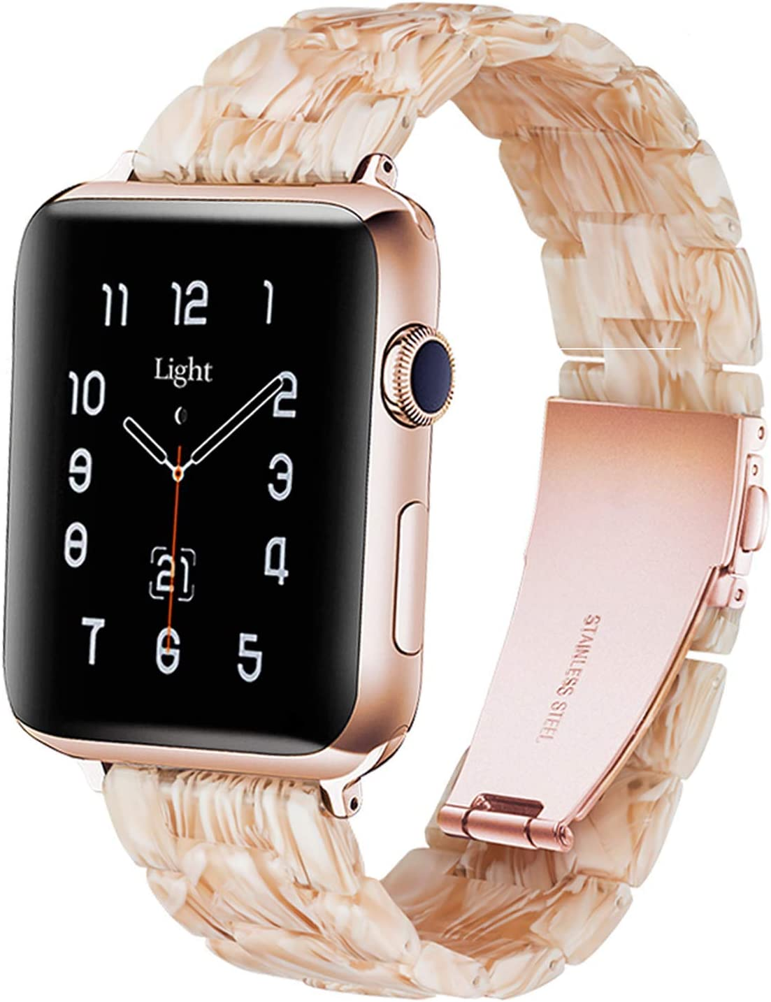 Light Apple Watch Band - Fashion Resin iWatch Band Bracelet Compatible with Copper Stainless Steel Buckle for Apple Watch Series SE Series 6 Series 5 Series 4 Series 3 Series 2 Series1 (Silky white in oak, 38mm/40mm)