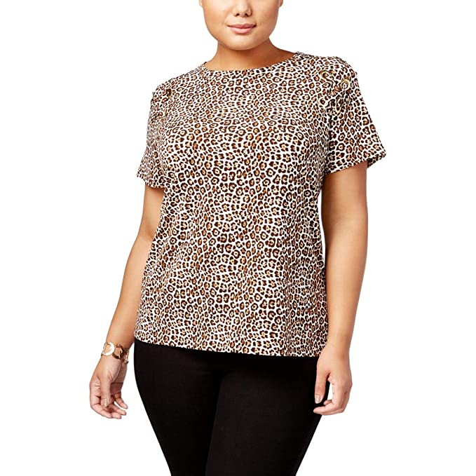 9b753acdd2a Michael Michael Kors Womens Plus Leopard Print Lace Up Dress Top Brown 1X