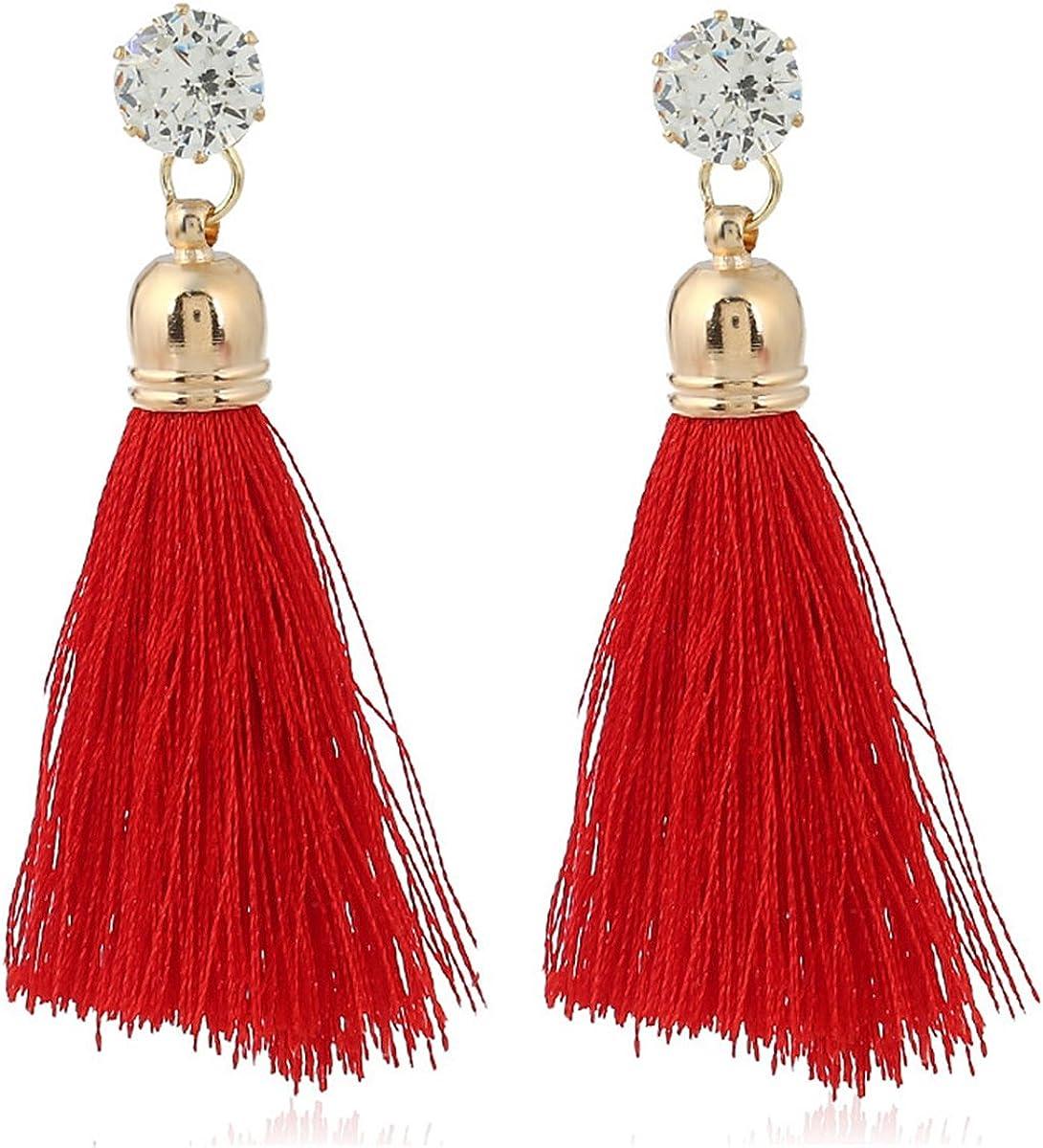 New Women Fashion Jewelry Rhinestone Long Tassel Drop Dangle Fringe Earrings