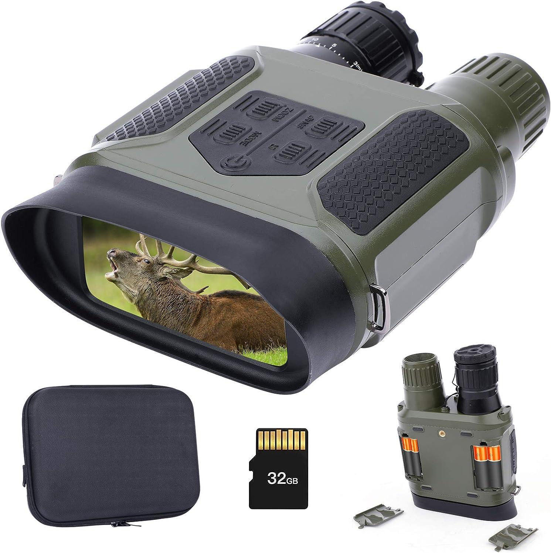 Gafas de Visión Nocturna Prismáticos Infrarrojos con Tarjeta de Memoria de 32 GB para Foto y Video Visión 100% Clara en la Oscuridad Equipo de Vigilancia y Caza Nocturna