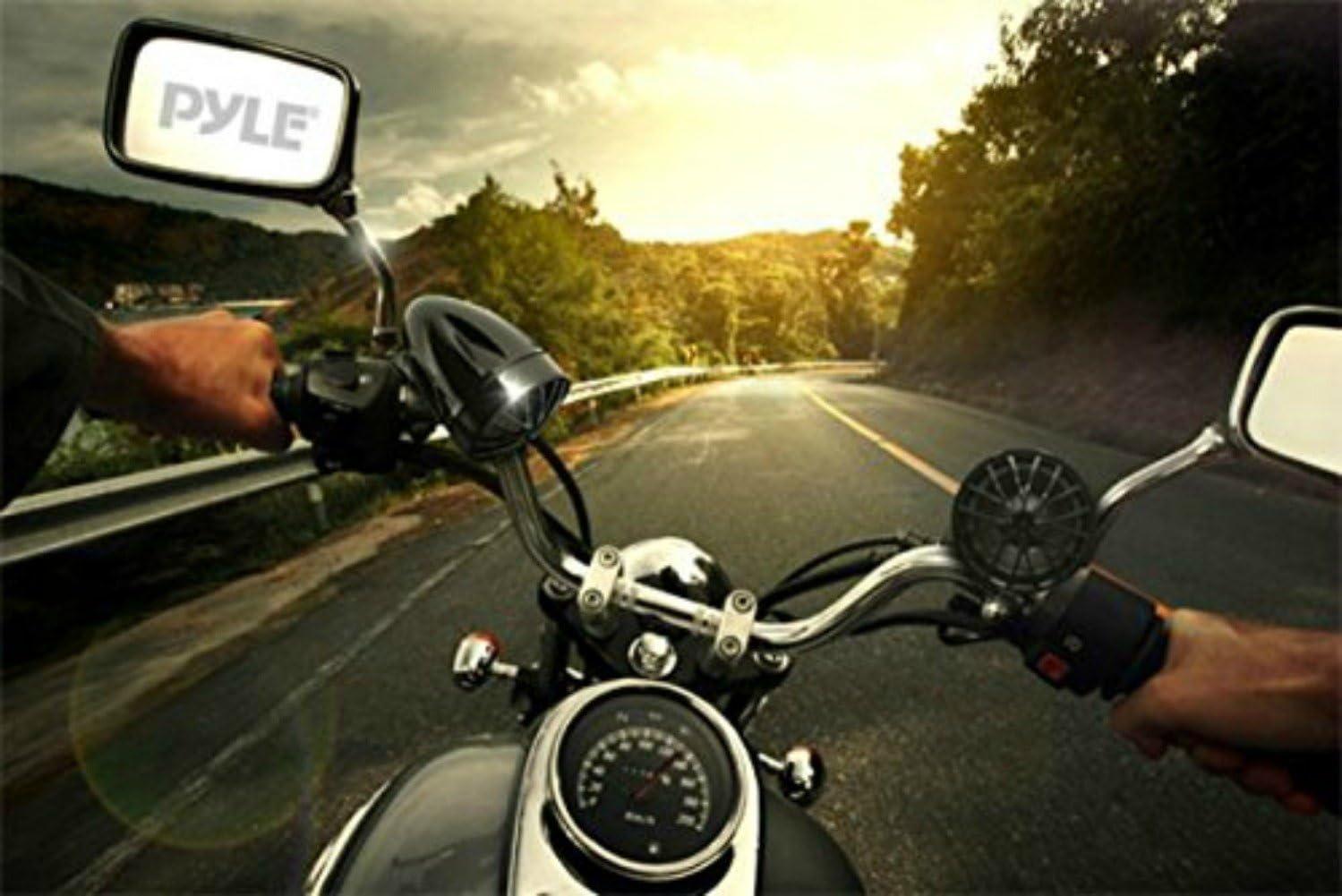 AMPLIFICATORE E CASSE PER MOTO PYLE PLMCA31BT CROMATE IMPERMEABILI E A PROVA DACQUA DA 400 WATT MAX CON TECNOLOGIA BLUETOOTH CUSTOM