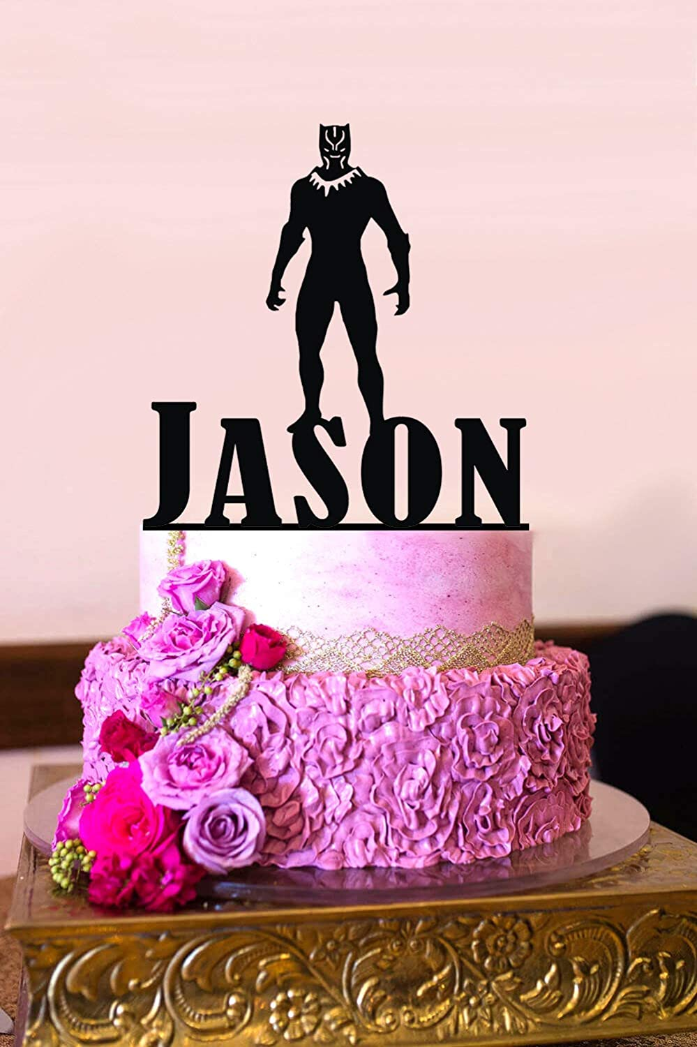 Black Panther Cake Topper Birthday Superhero Personalized Name Amazon Grocery Gourmet Food