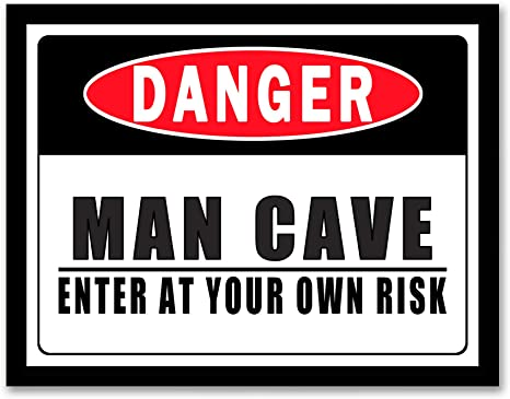 """Man Cave Metal Sign 18/"""" x 5.5/"""" ↔ Die Cut Embossed Funny Warning Home Wall Decor"""