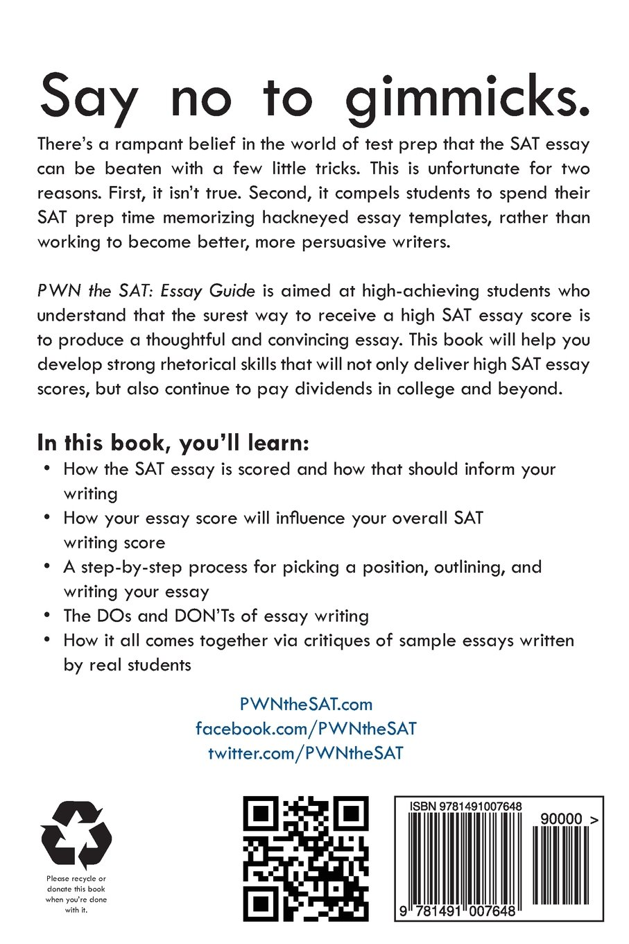 pwn the sat essay guide mike mcclenathan  pwn the sat essay guide mike mcclenathan 9781491007648 com books
