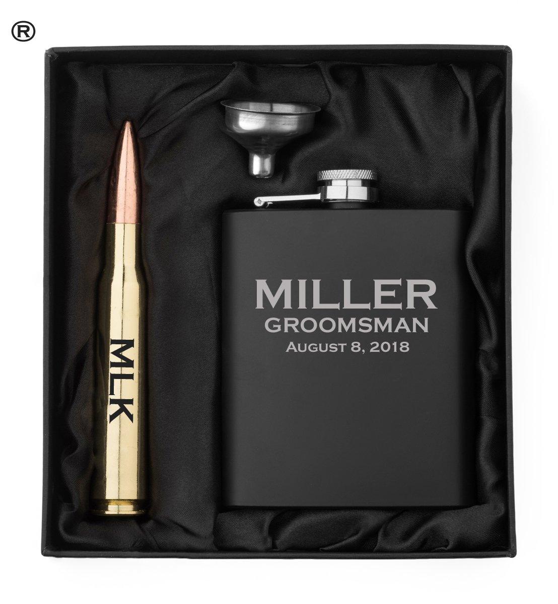 限定価格セール! Engravedマットブラックヒップフラスコ、Funnel真鍮50 Caliber Bullet Caliber、栓抜きギフトボックス50 CalカスタムPersonalized B07BS4M8X5, デリシャスハーツ:ab0bd923 --- a0267596.xsph.ru