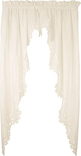 Today s Curtain Imperial Classic Drawn Cutwork Window Swagger, 63-Inch, Beige