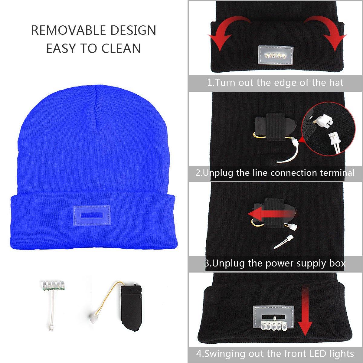 a5a2dbe8402 Walsilk 5 LED Knitted Beanie Hat