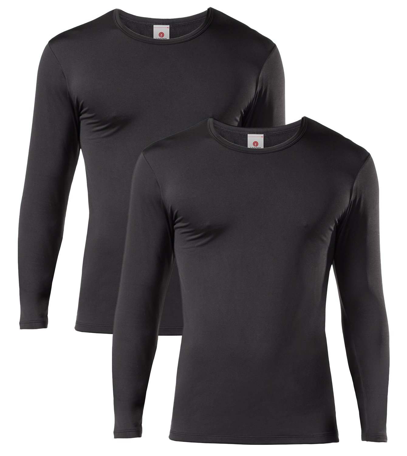 LAPASA Men's Lightweight Thermal Underwear Tops Fleece Lined Base Layer Long Sleeve Shirts 2 Pack M09 (Large, Black) by LAPASA