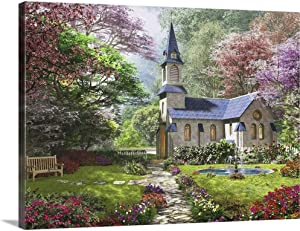 GREATBIGCANVAS The Country Church Canvas Wall Art Print, Home Decor Artwork, 40