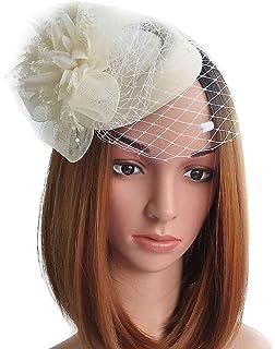 Coolwife Fascinator Hats Pillbox Hat British Bowler Hat Flower Veil Wedding  Hat Tea Party Hat 8a4eacc5471
