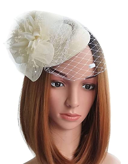 Fascinator Hats Pillbox Hat British Bowler Hat Flower Veil Wedding Hat Tea  Party Hat (Beige 8d1e4d8d736