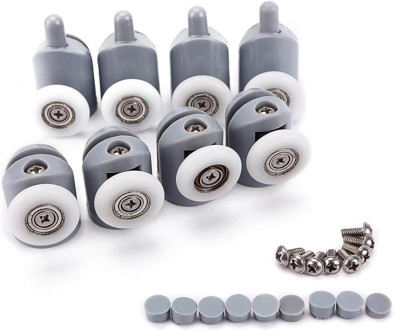 8pcs x 25mm Rodillo Rodamiento Reemplazo Recambio Repuesto para Puerta Corredera de Ducha Baño + Cojinete de Bolas Color Blanco y Gris