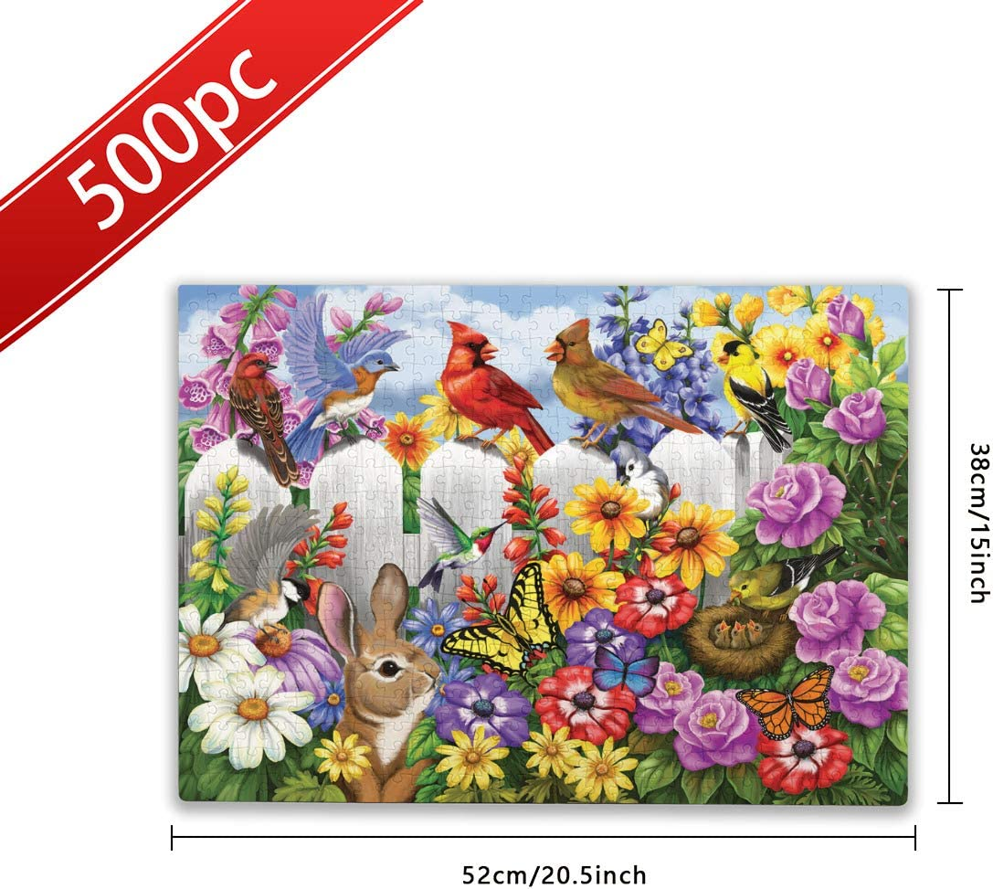 Complicated Puzzles 500 Pieces Cardinal Bird Jigsaw Puzzles 500 Pieces for Adults Cardinal Bird Flower Fun Game Toy Family Challenge Gift Puzzle Funny Bird Puzzles