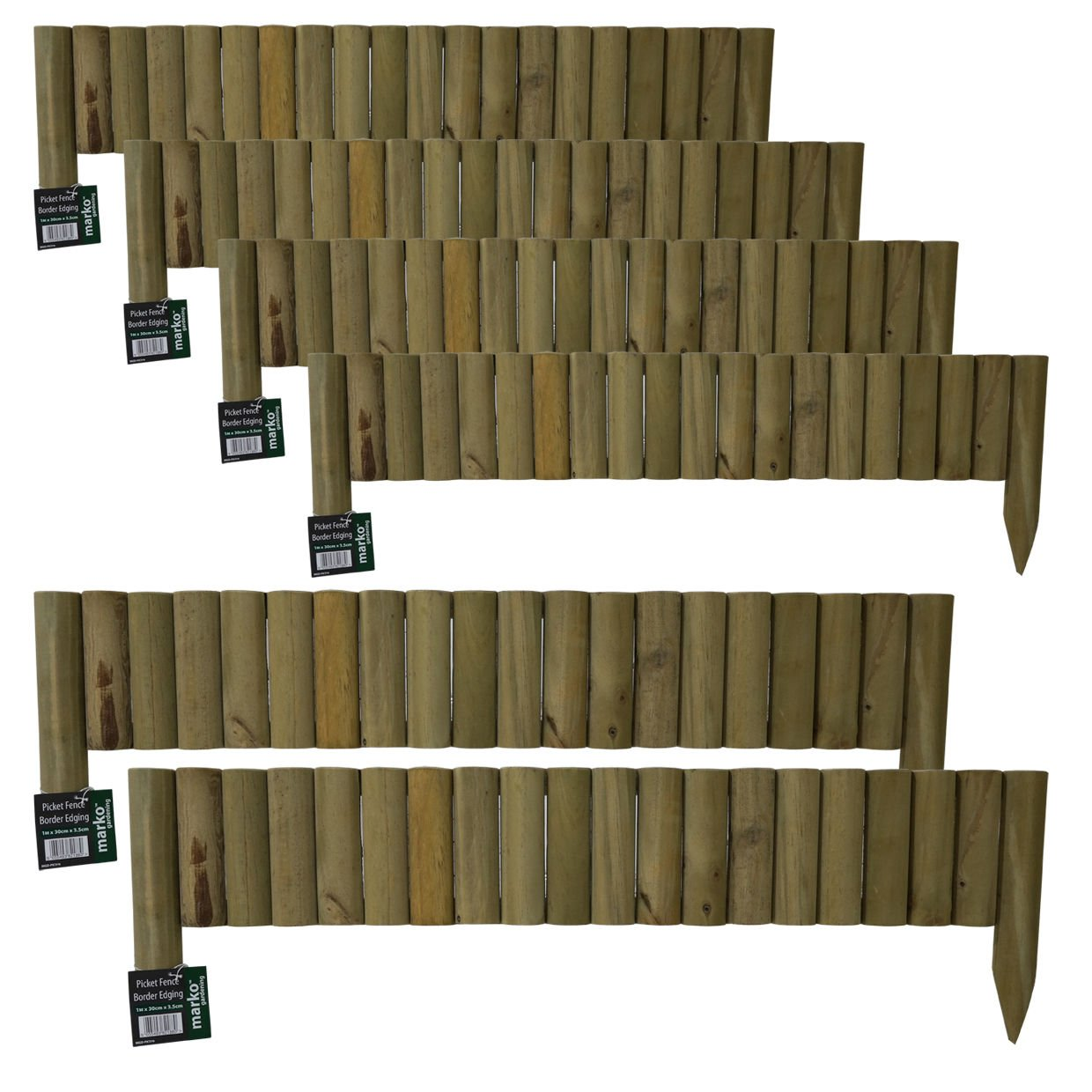 6x 1M Log Roll Border Fixed Picket Fence Edge Garden Outdoor Lawn Edging Marko