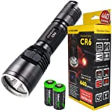 Nitecore Chameleon CR6 440 Lumens white / 3000mW Red Dual Beam LED Flashlight w/ RGB Color Light, 2X EdisonBright CR123A lithium Batteries and Holster