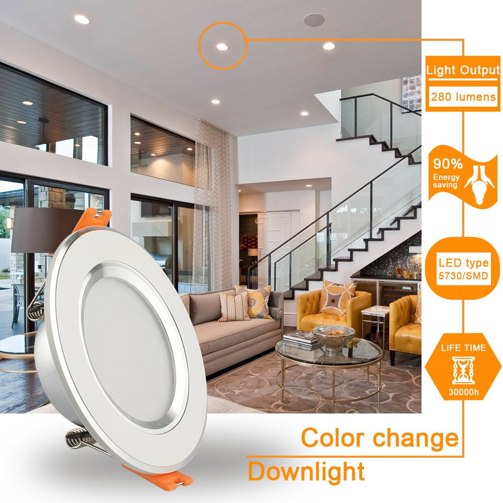 GALYGG 3 Colors Change LED Downlight - Cool/Neutral/Warm White Light, 4W ( 25W Equivalent ), 3 Inch Ceiling Panel Lights, Retrofit Recessed Lighting Fixture, White - 4 Pack