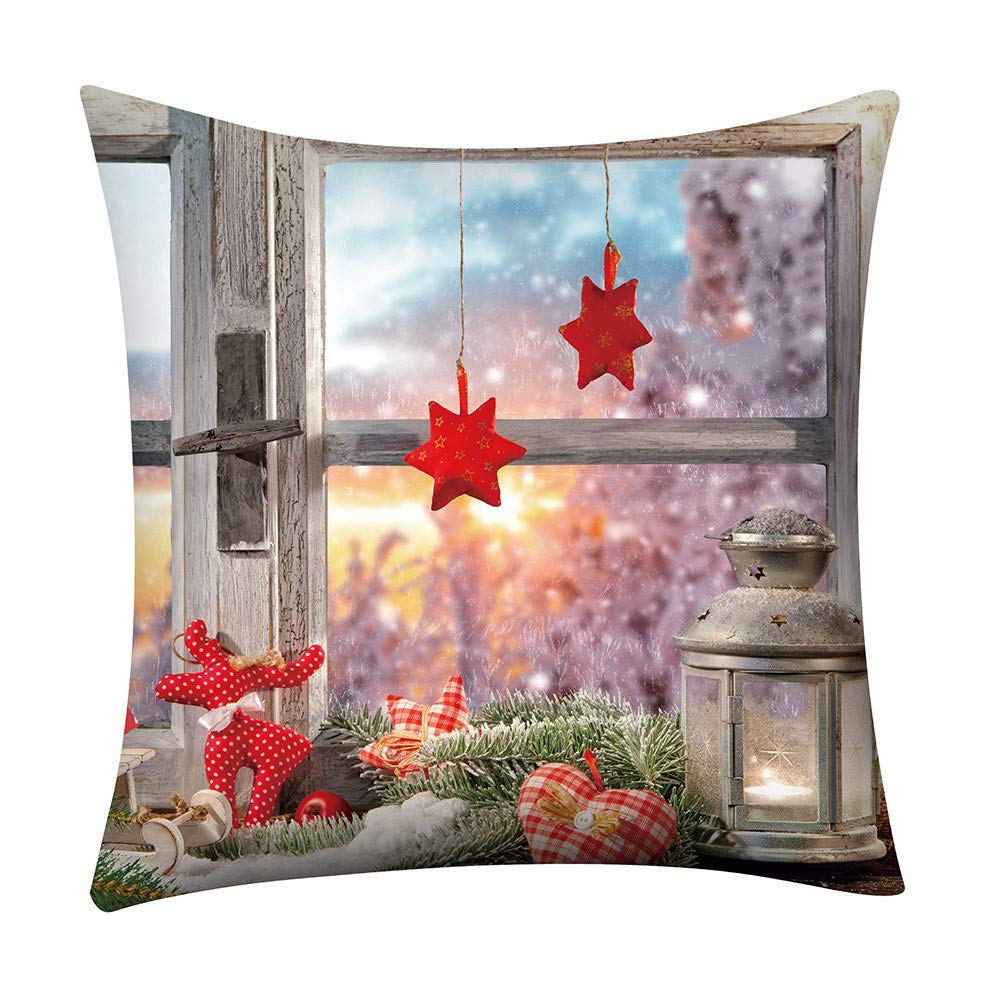 Weiliru Hello Merry Christmas Serie Blend Linen Throw Pillow Cover Flower Cushion Case 18 x 18 Inch for Home Sofa