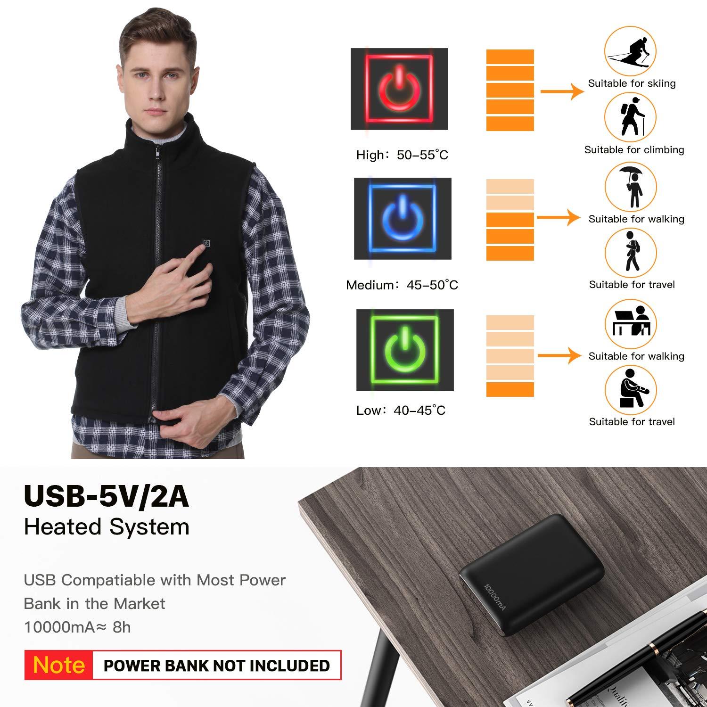 Vinmori Gilet riscaldato Nero Caricatore USB Regolabile Lavabile in 3 Tipi di Controllo della Temperatura Giacca Invernale Calda migliorata Unisex