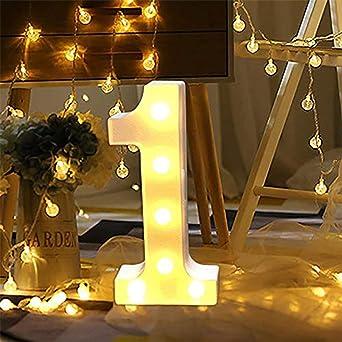 4 LED Zahlen Lampe Nummer Beleuchtete Ziffern 0 bis 9,Led dekoration f/ür Geburtstag Party Hochzeit /& Urlaub Haus Bar
