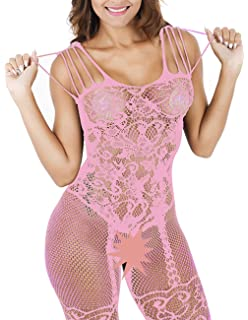 1255eb693d1 Buauty Womens Sexy Fishnet Lace Bodystockings Strappy Fishnet Bodysuit  Crotchless Lingerie