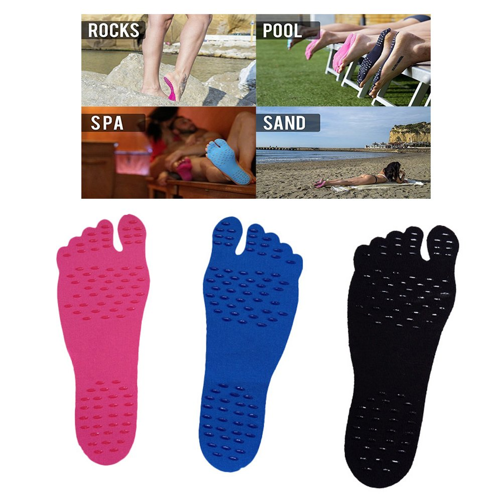 StarForest 3 Pairs Barefoot Beach Invisible Shoes Beach Insole Nakefit Portable Foot Stickers Men & Women General Waterproof Non-Slip
