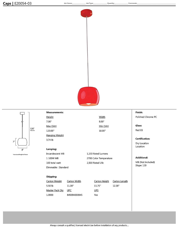 Et2 Lighting Wiring Diagram Simple E20054 04 Caps 1 Light Pendant Mini Polished Chrome Car Diagrams