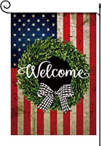 American US Flag Boxwood Wreath 4th of July Garden Flag Burlap Vertical Double Sided,Welcome Buffalo Plaid Bow Patriotic Summer Farmhouse Rustic Flag Yard Outdoor Decoration 12.5 x 18 Inch