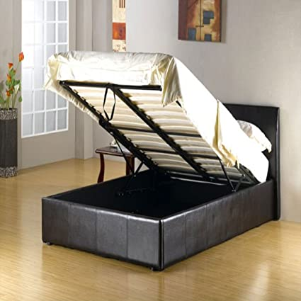 ff064a030cb 3FT 4FT 5FT Storage Ottoman Faux Leather Gas Lift Up Bed Frames Black Brown  White (Brown