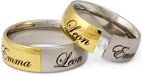 His and Hers Friendship Rings Stainless Steel With 1 Cubic Zirconia CZ Stone Color White Jewelery Codex PERSONALIZED Wedding Band Ring Set with FREE ENGARVING