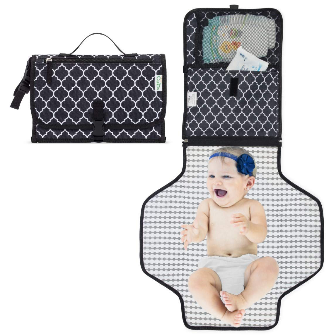 Baby Portable Changing Pad, Diaper Bag, Travel Changing Mat Station, Black Large Comfy Cubs CC-103
