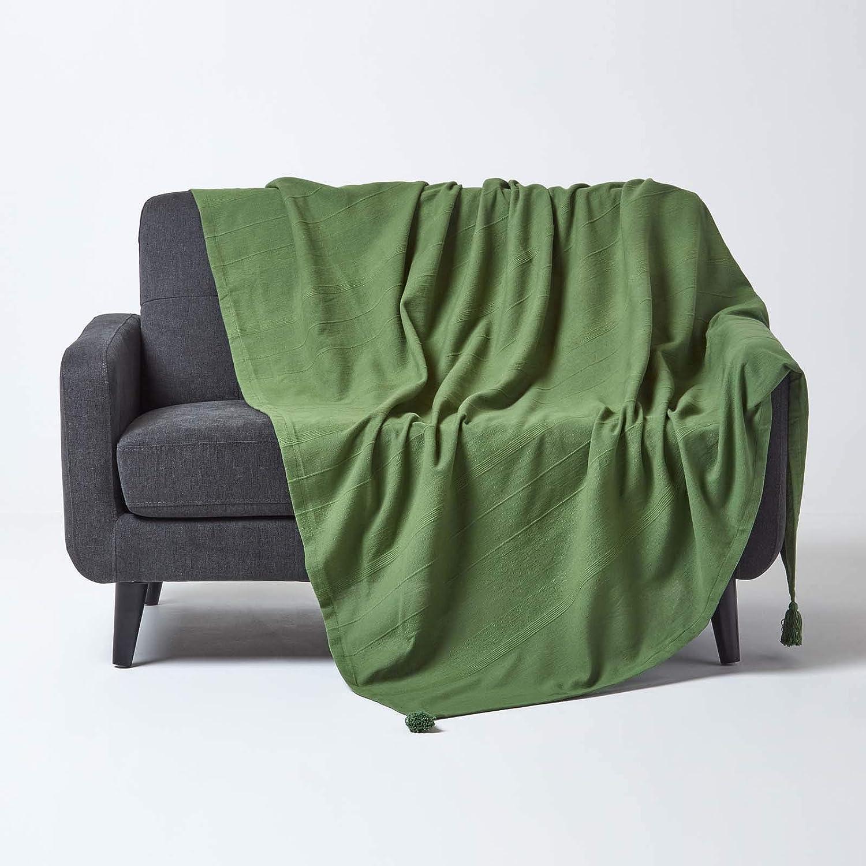 255 x 360 cm Homescapes Tagesdecke Rajput aus 100/% Baumwolle XL-Gr/ö/ße Sofa/überwurf /Überwurfdecke Couch/überwurf in RIPP-Optik olivgr/ün