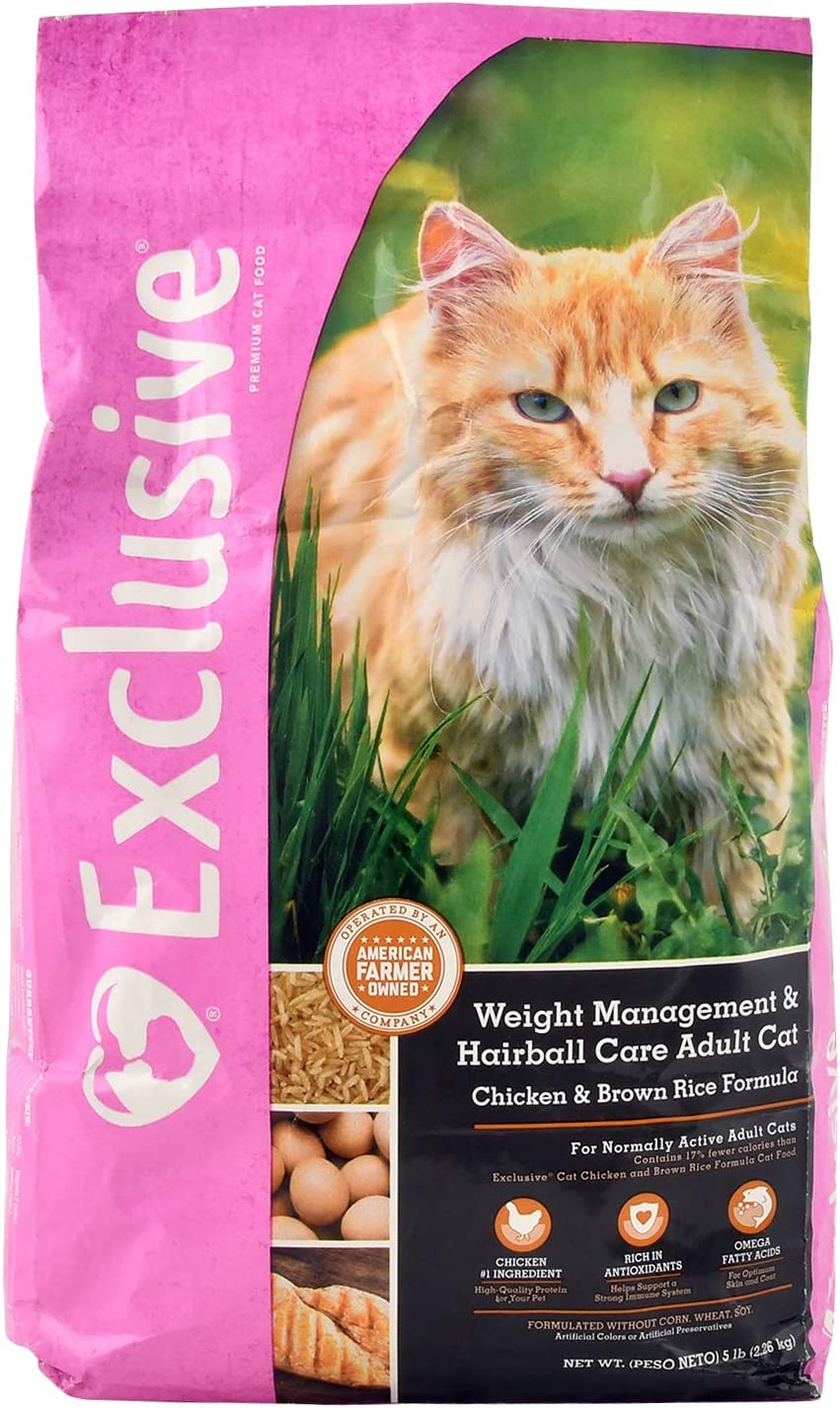 Exclusive Healthy Weight and Hairball Managment Adult Cat Food Chicken and Brown Rice Recipe – 5 Pound 5 lb Bag