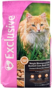 Exclusive Weight Management and Hairball Care Adult Cat Food, Chicken & Brown Rice Recipe, 5 lb Bag