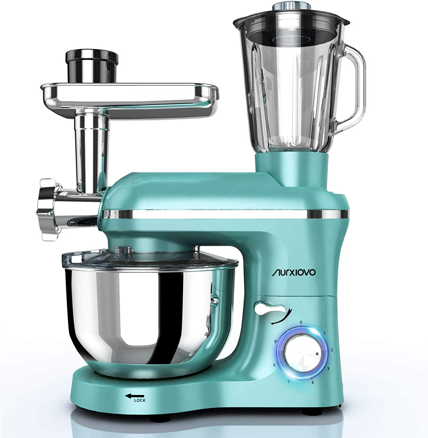 Nurxiovo 3 in 1 850w Stand Mixer Tilt-Head Kitchen Food Mixer, 6 Speed with Pulse Electric Mixer, Multifunction Standing Mixers, Meat Blender and Juice Extracter (Mint Green)