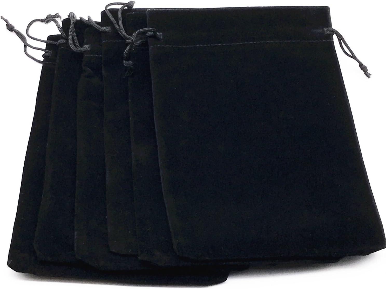 6pcs 7 X 5 Velvet Cloth Jewelry Pouches Black and Gray Drawstring Bags