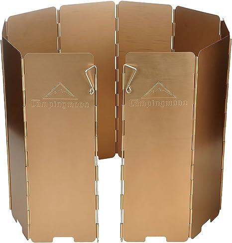 Brotree 10 Placas Plegables de Viento de Aluminio Deflector Escudo Pantalla Protector Parabrisas de Viento de Gas, Cocina, Hornillo para Acampada, ...