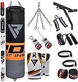 RDX MMA 17PC Set De Boxe 4FT 5FT Sac De Frappe Lourd Mural Rempli Pied Poing Kickboxing Cible Fixation Plafond