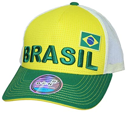 99190d0961b Image Unavailable. Image not available for. Color  Outerstuff Team Brazil  World Cup Soccer Federation Jersey Hook Structured Mesh Back Hat