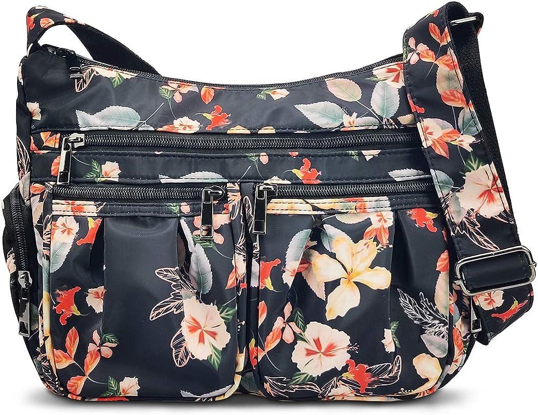 Crossbody Bags for Women RFID Multi Pocketbooks Shoulder Bag Waterproof Messenger Bag Nylon Travel Purses and Handbags