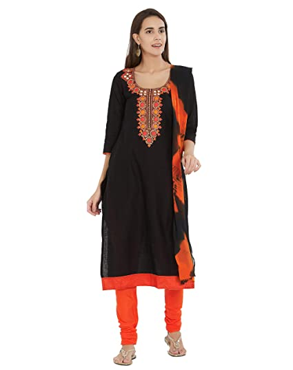 7942f129bd Viva N Diva Un-Stitched Embroidery Salwar Suit Material Dupatta For Women's Cotton  Punjabi Salwar Suit, Free Size (Black): Amazon.in: Clothing & Accessories