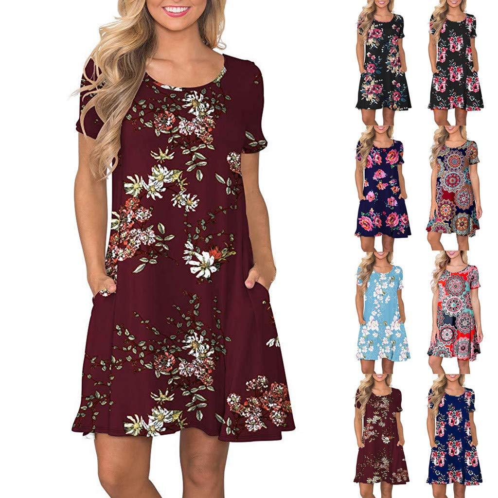 Womens Boho Swing Dress, Ladies Crew Neck Short Sleeve Floral Print Loose Shirt Dresses Clothes