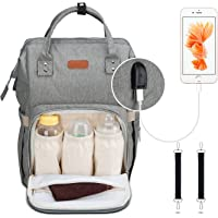 Diaper Bag Backpack, Covvy Large Capacity Diaper Bags for Boys Girls, Travel Gear Baby Bag with Stroller Straps, USB Charging Port & Insulated Pockets, Waterproof Durable Nappy Backpack for Mom - Grey